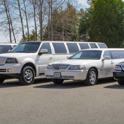 An image showing the exterior of four D&A Limo fleet