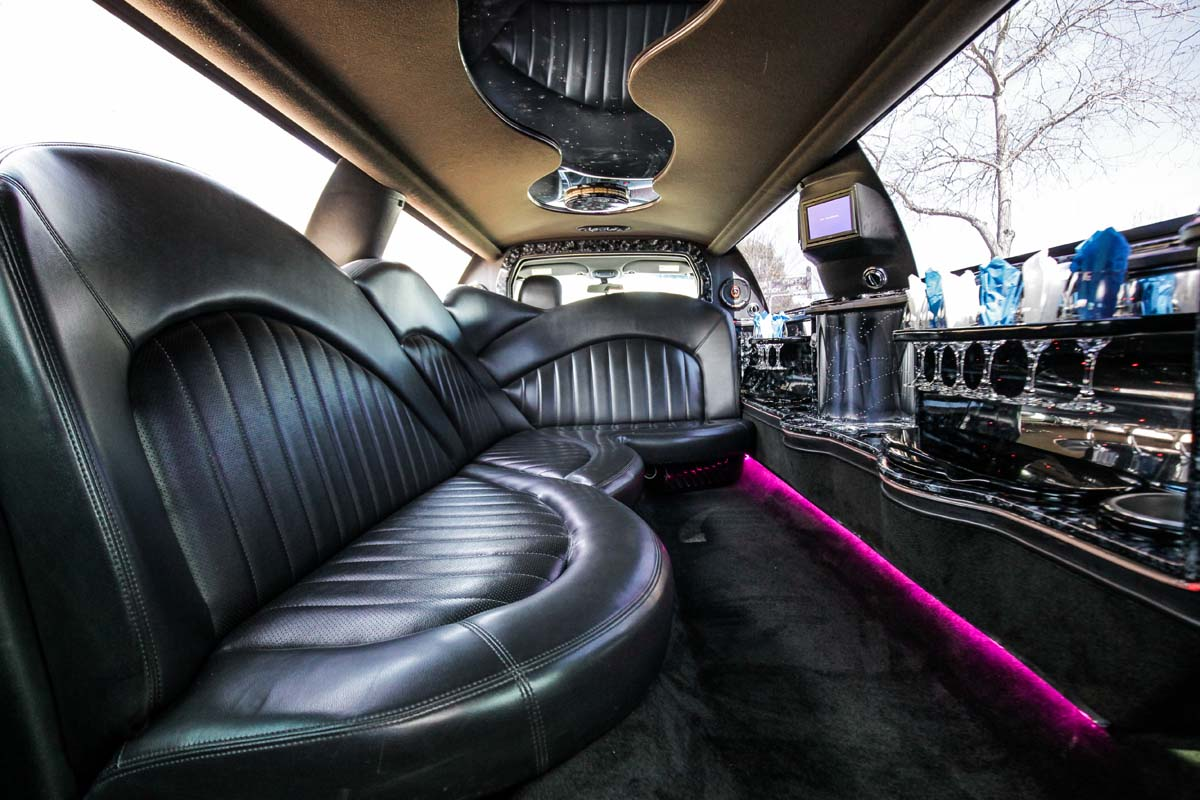 An image showing the interior of the White Stretch Lincoln Town Car