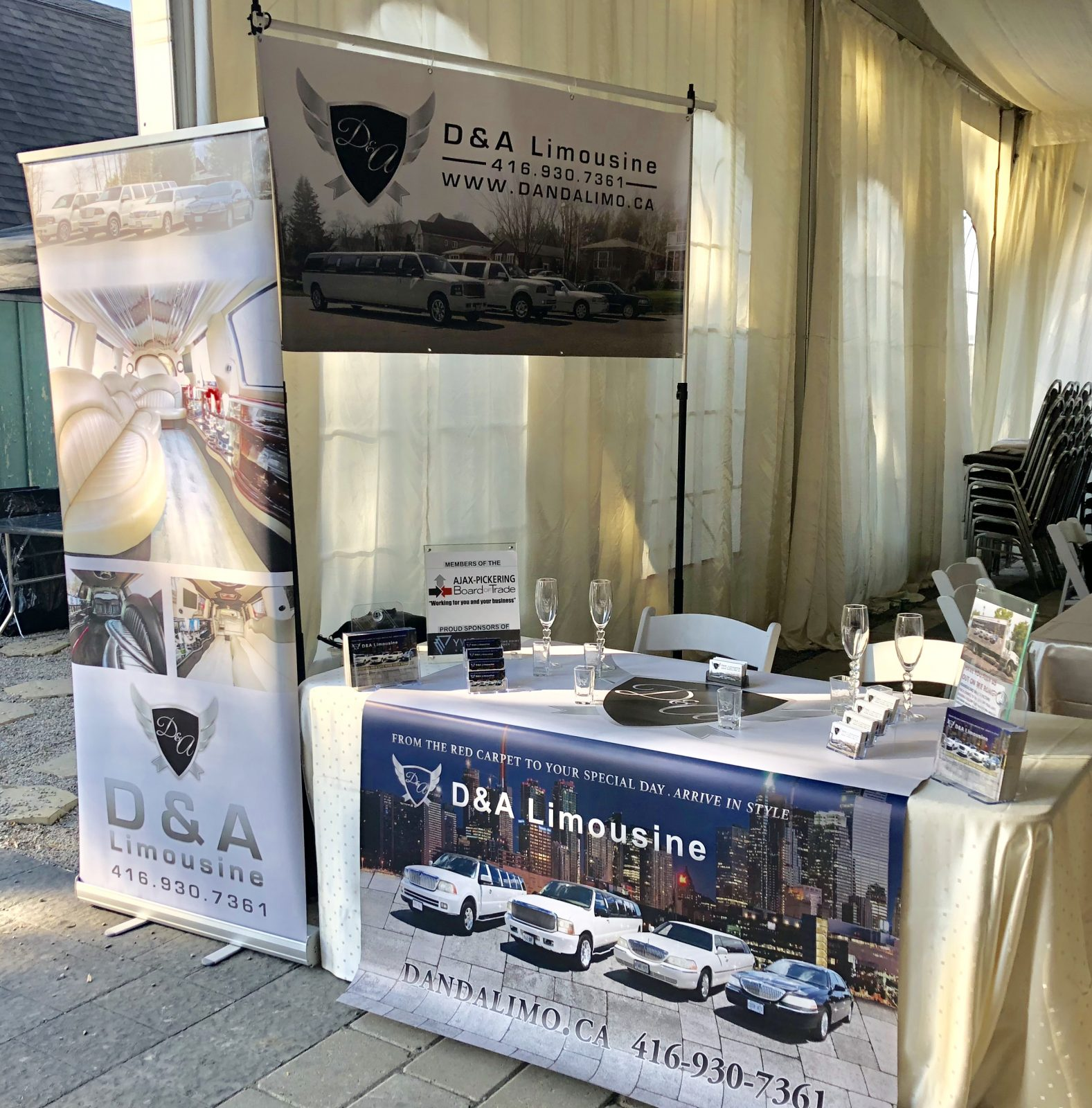 An image showing the D & A Limo booth at a Wedding Show