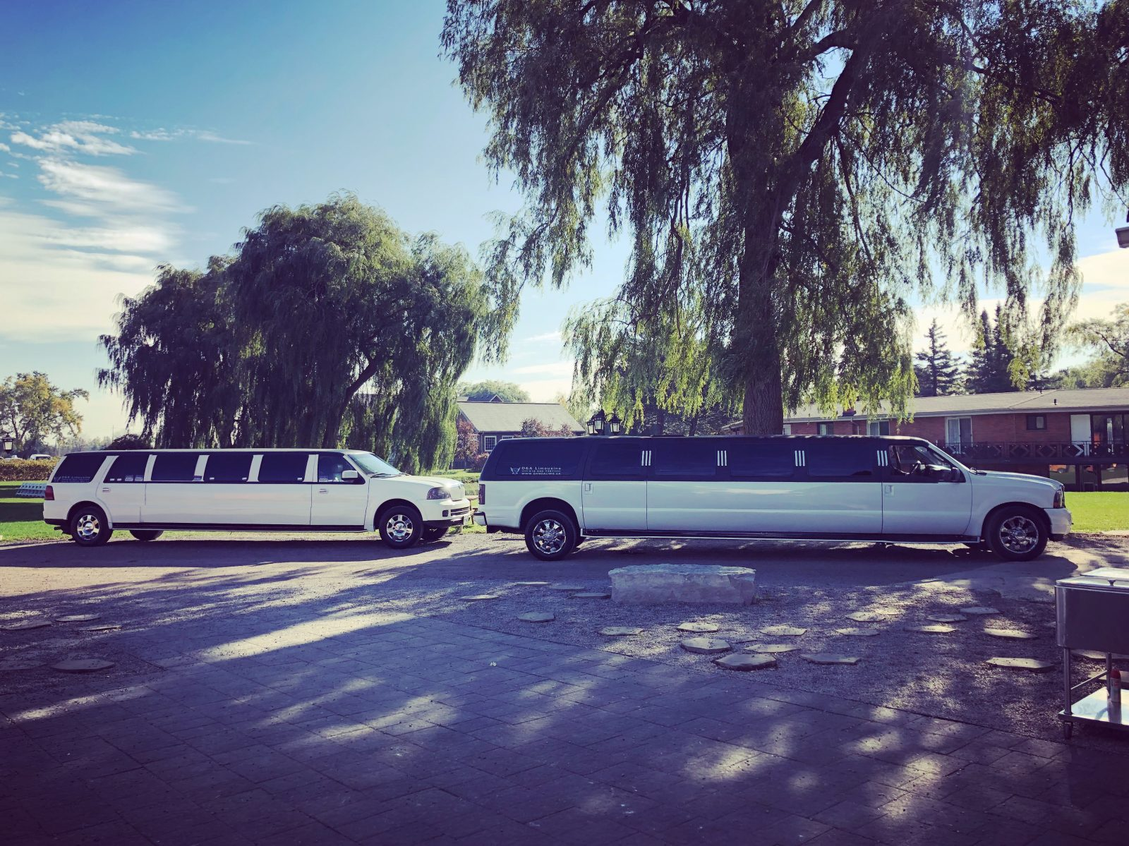 An image showing two of D & A's Limos in from of the Willow Springs Winery