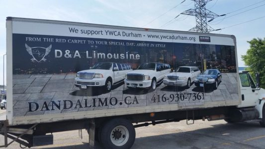 D & A Limo's Advertisement on the side of a truck courtesy of Big Rig Wraps